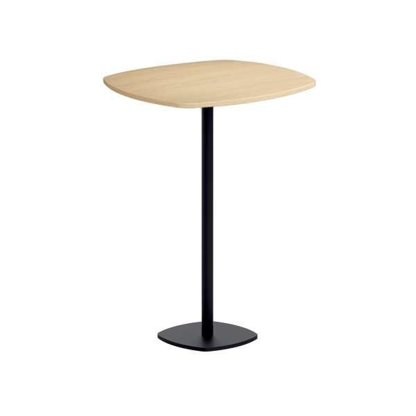 table de bar carr e aux bords arrondis avec pied central circa 4. Black Bedroom Furniture Sets. Home Design Ideas