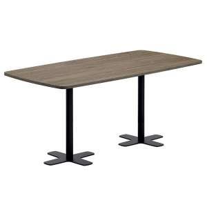 Table snack en stratifié rectangulaire aux coins arrondis avec deux pieds - Spinner 2