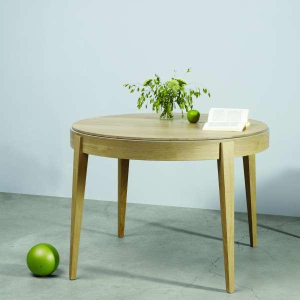 Table ronde en bois massif de fabrication française avec allonges ...