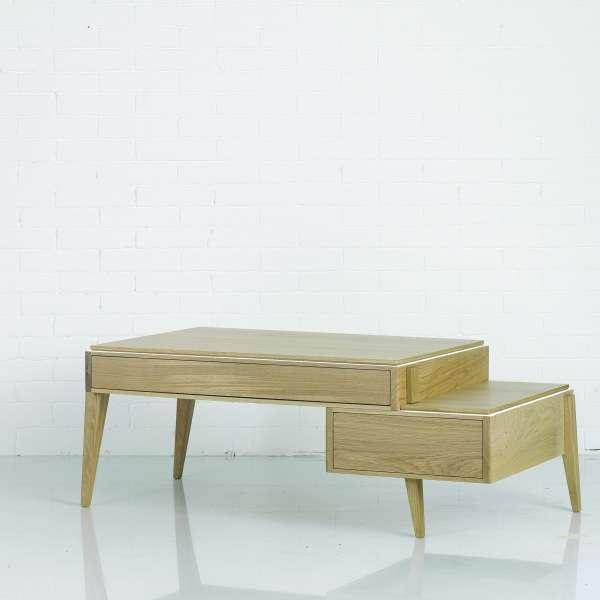 Table basse scandinave en bois massif avec deux tiroirs Table basse scandinave bois massif