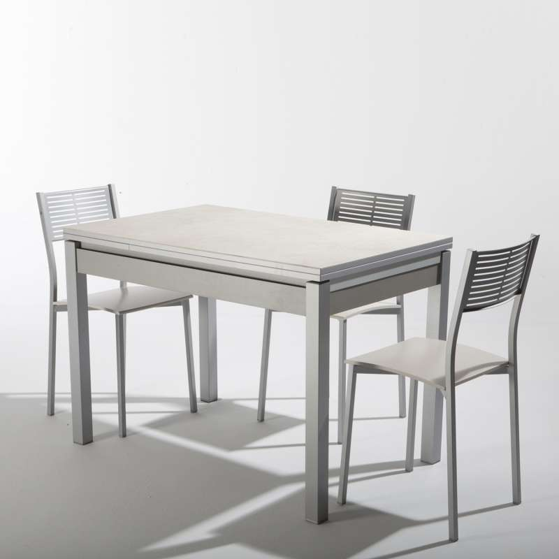 Petite table de cuisine extensible en c ramique avec for Table carree 90x90 extensible