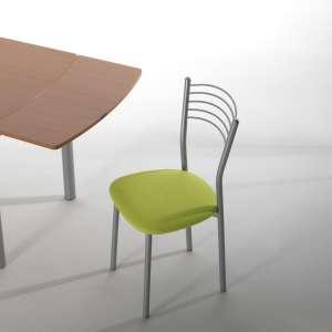Chaise de cuisine en métal chromé avec assise verte rembourrée - Marta