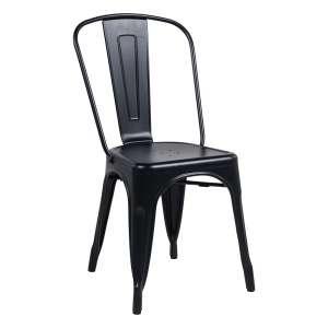 Chaise industrielle en métal noir dépoli - Maxime