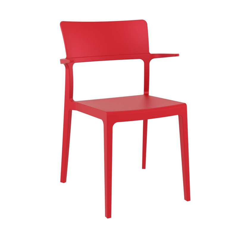Chaise Avec Accoudoirs En Plastique Rouge