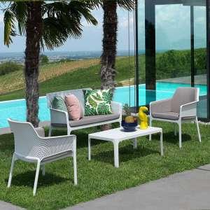 Table basse de jardin moderne avec plateau blanc micro-perforé 100 x 60 cm - Net