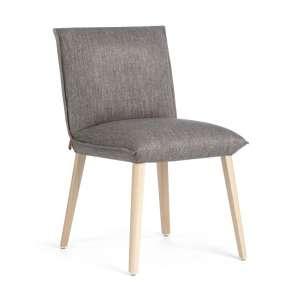 Chaise en tissu gris et bois naturel cocooning - Soft Mobitec®