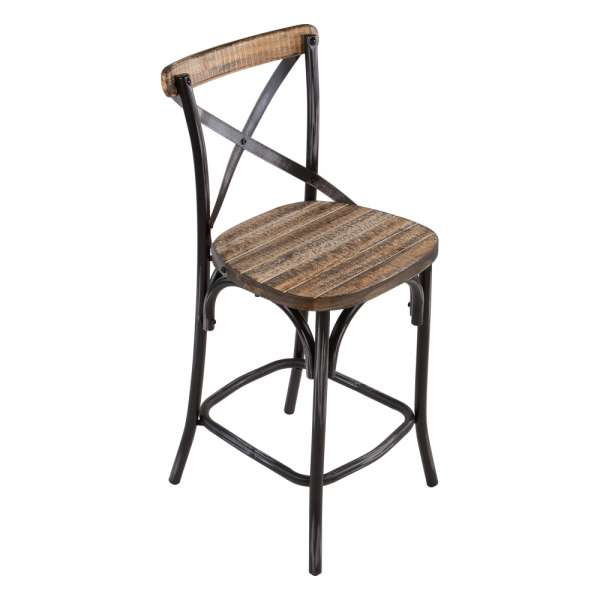 tabouret bistrot en m tal patin et bois vieilli madie 4. Black Bedroom Furniture Sets. Home Design Ideas