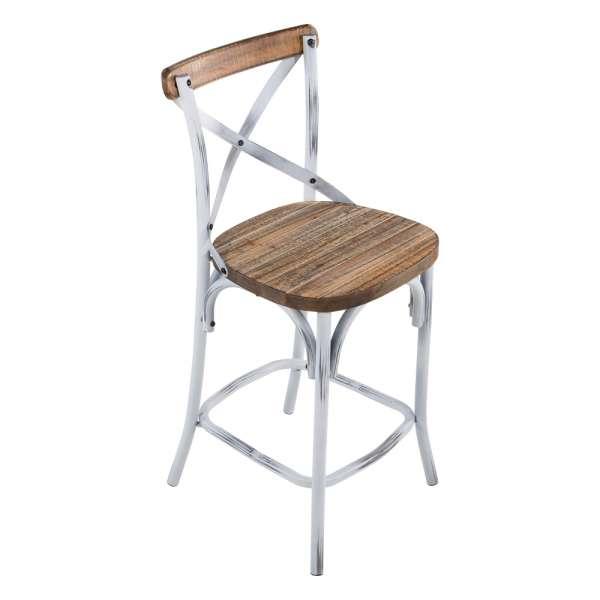 tabouret bistrot en m tal patin et bois vieilli madie 4 pieds tables chaises et tabourets. Black Bedroom Furniture Sets. Home Design Ideas