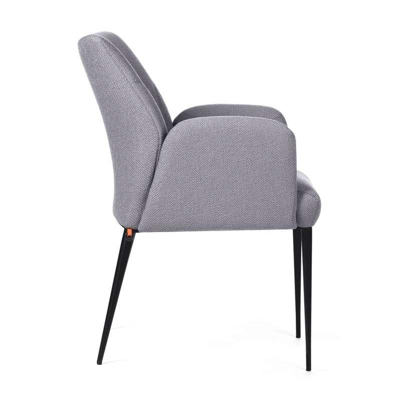 Chaise Cocooning Avec Accoudoirs En Tissu Gris Et Pieds Mtal Noir