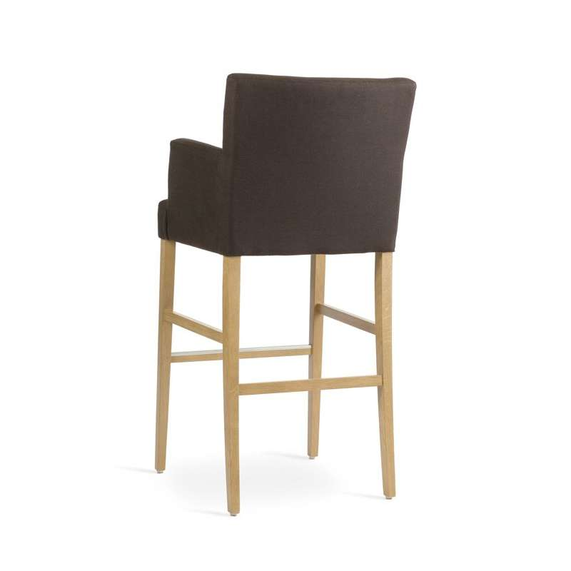 tabouret de bar avec dossier et accoudoirs en bois et tissu shawn mobitec 4. Black Bedroom Furniture Sets. Home Design Ideas