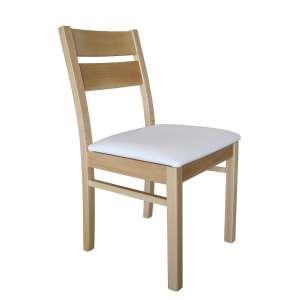 Chaise française en hêtre massif et synthétique blanc avec renforts latéraux - Zoé
