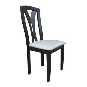 Chaise Franaise En Bois Massif Noir Et Synthtique Blanc