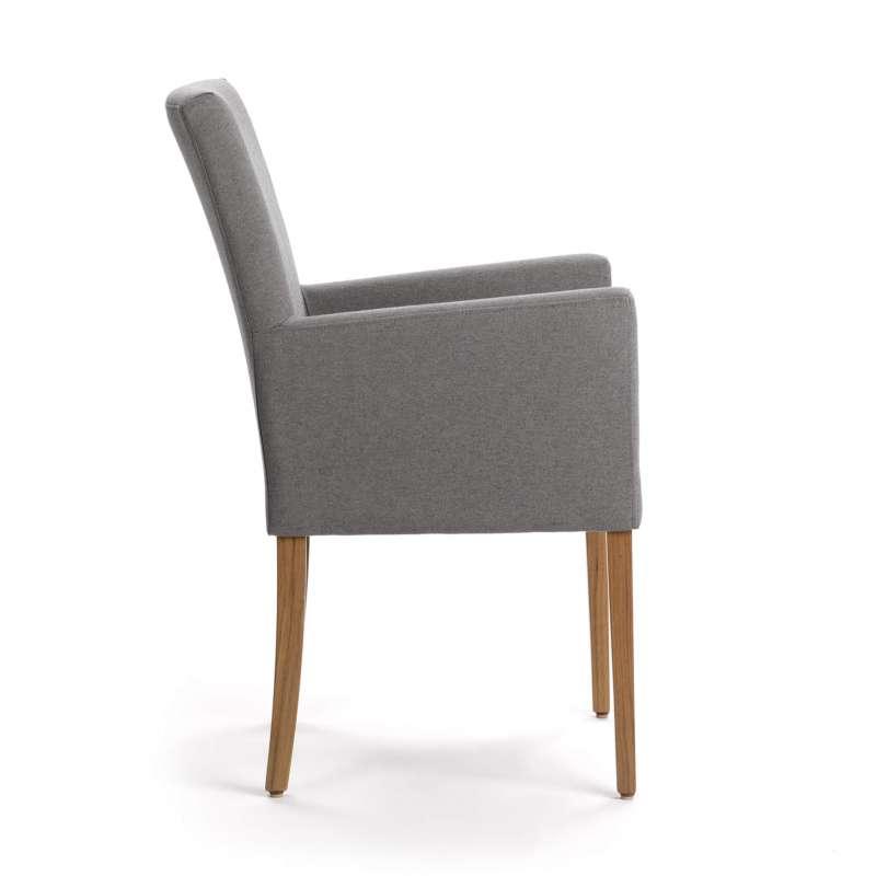 Chaise Avec Accoudoirs Confortable Grise Et Pieds En Bois