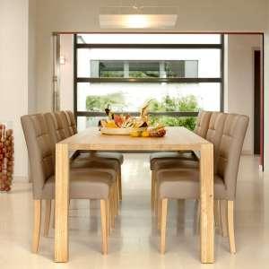 Chaise de salle à manger en vinyle marron et pieds en bois marron clair - Carré Mobitec®