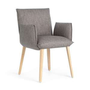 Fauteuil gris et pieds en bois marron clair - Soft Mobitec®