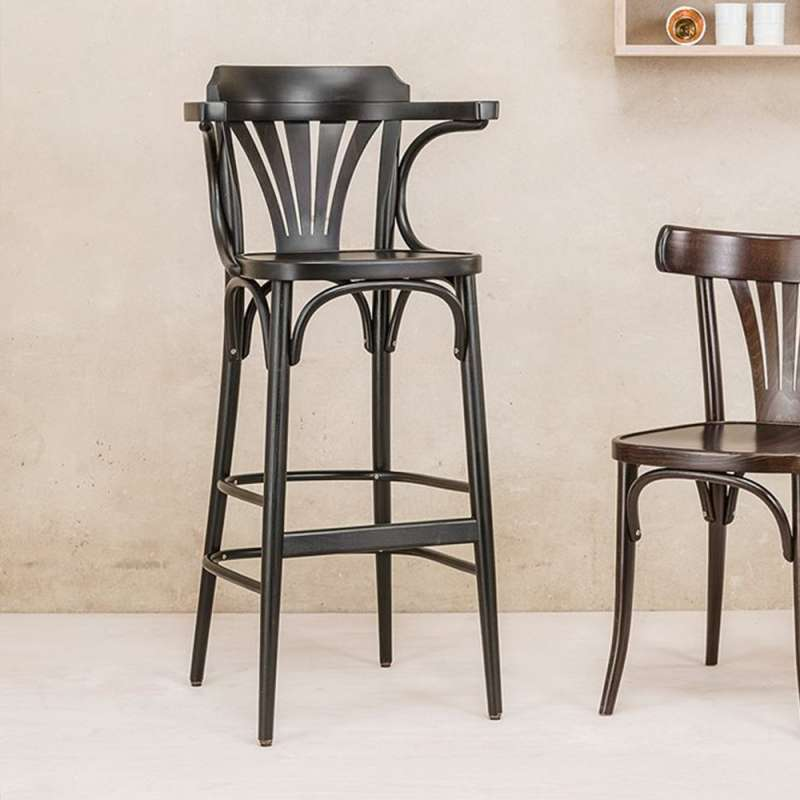 tabouret en bois avec accoudoirs style bistrot 135 4. Black Bedroom Furniture Sets. Home Design Ideas