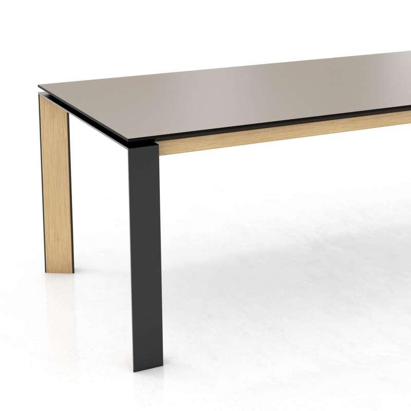 Table moderne en céramique pieds en bois massif et métal extensible ...