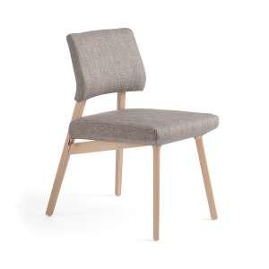 Chaise style scandinave en tissu gris et bois clair - Lindsay Mobitec®