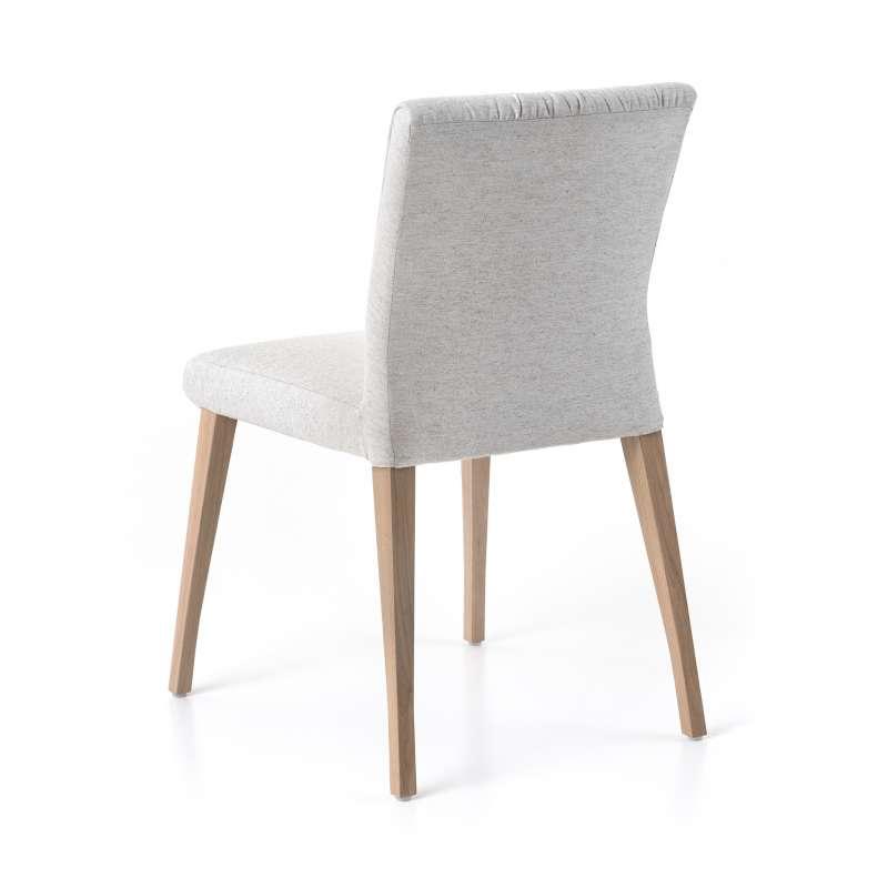 Chaise Cocooning En Tissu Pliss Beige Et Pieds Bois