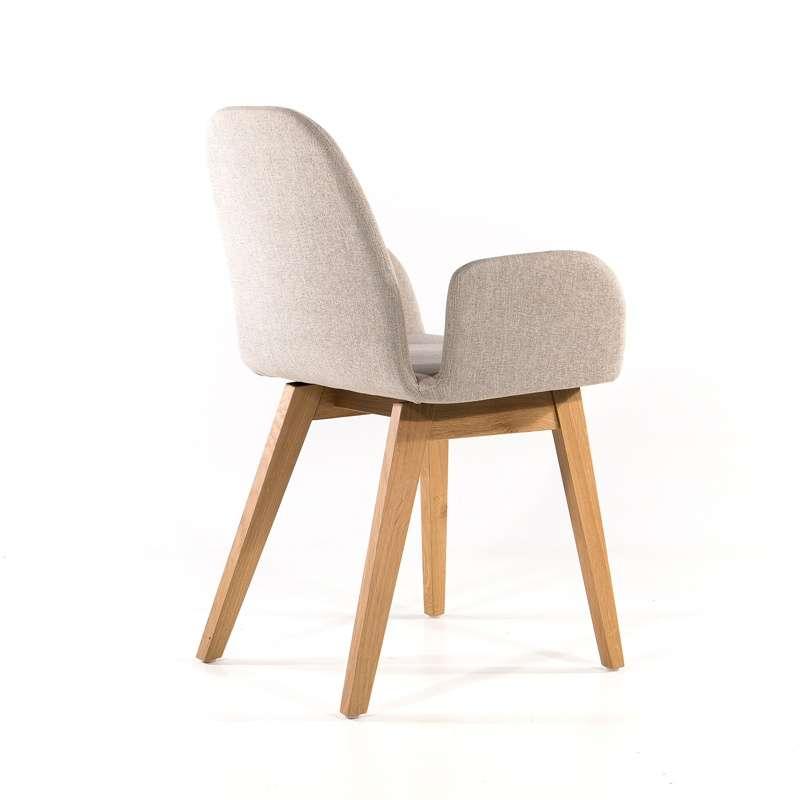 fauteuil cosy blanc en tissu avec pieds en bois puccini mobitec 16 - Chaise Accoudoir Scandinave