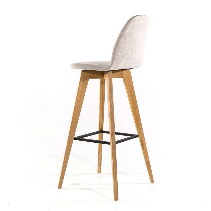 tabouret de bar scandinave en bois et tissu puccini. Black Bedroom Furniture Sets. Home Design Ideas