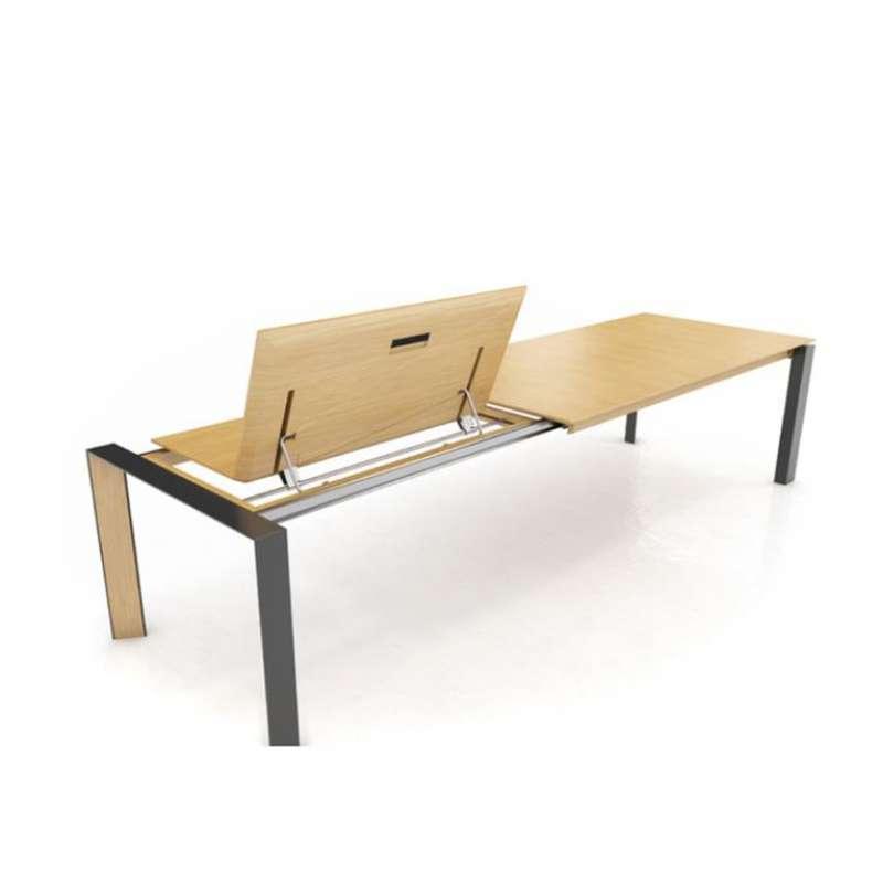 table moderne extensible en bois massif et m tal oxford. Black Bedroom Furniture Sets. Home Design Ideas