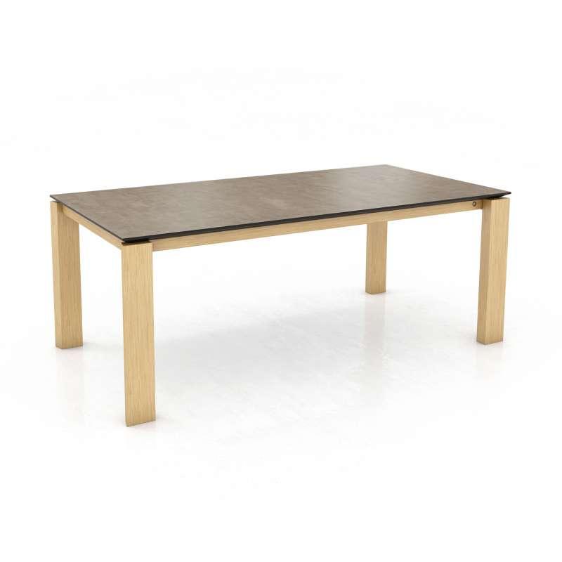 Table de salle manger en c ramique avec pieds en bois - Table salle a manger plateau ceramique ...