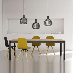 Table moderne rectangulaire en stratifié hêtre naturel et métal anthracite - Tokio