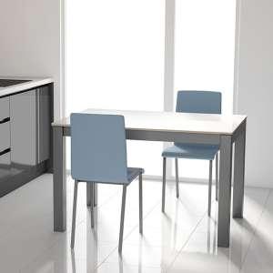 Table moderne rectangulaire en verre blanc brillant et métal anthracite - Tokio