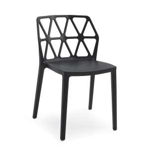chaise de jardin design empilable en polypropylène noir - Alchemia Connubia