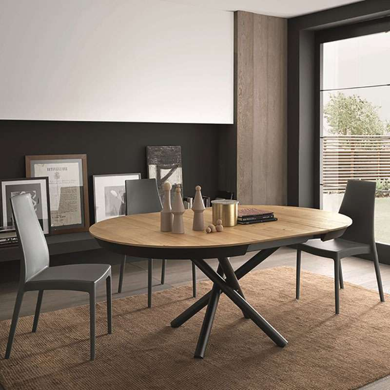 table design extensible ronde en bois avec pied central forme mikado fahrenheit 4. Black Bedroom Furniture Sets. Home Design Ideas
