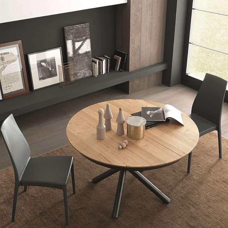 Table design extensible ronde en bois avec pied central