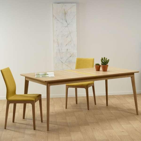 Table extensible en bois scandinave fabriquée en France avec liseré coloré - Paul