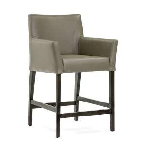 Chaise haute en synthétique gris et pieds en bois - BarMatiz