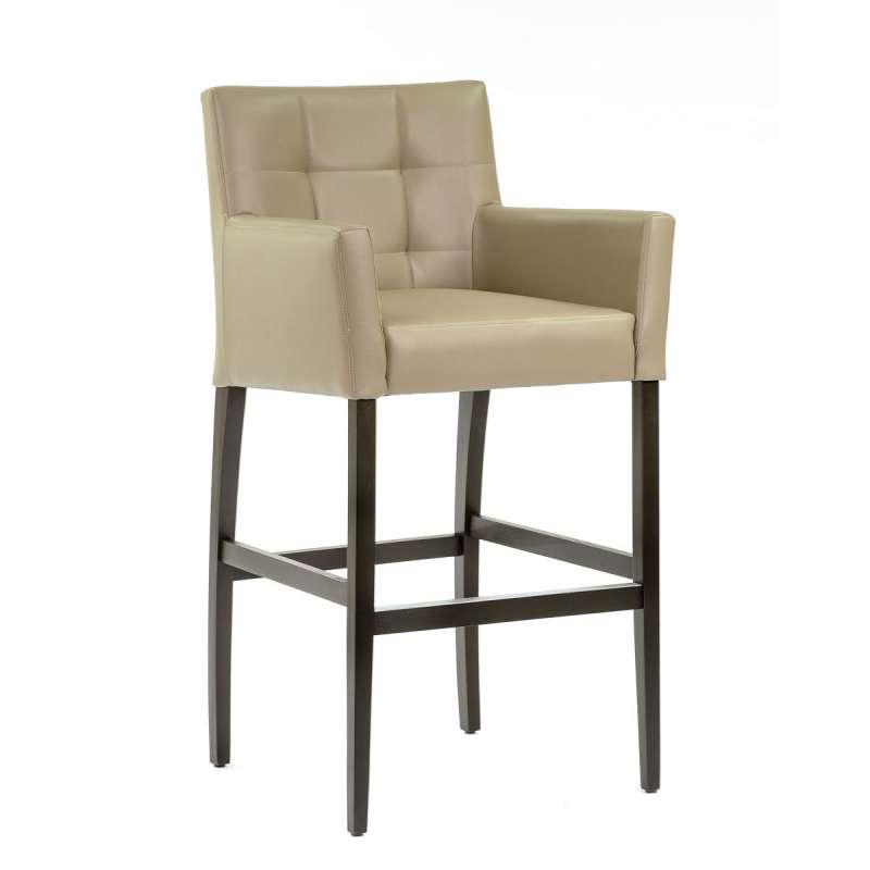 2ac908d9337034 Chaise haute de bar avec dossier et accoudoirs en synthétique gris -  BarMatiz - 1
