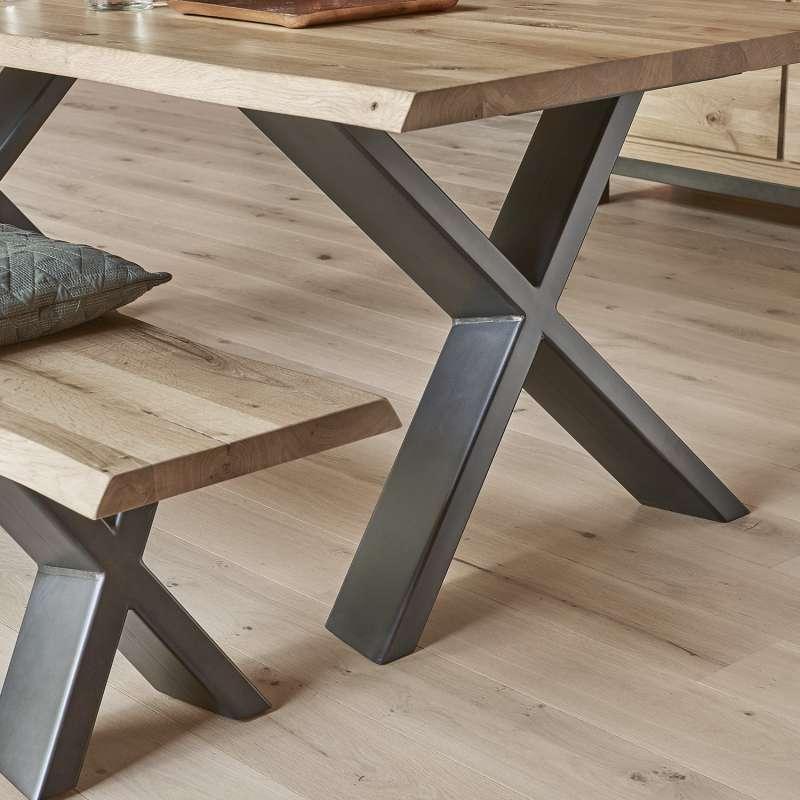 table rectangulaire en ch ne massif et pi tement. Black Bedroom Furniture Sets. Home Design Ideas