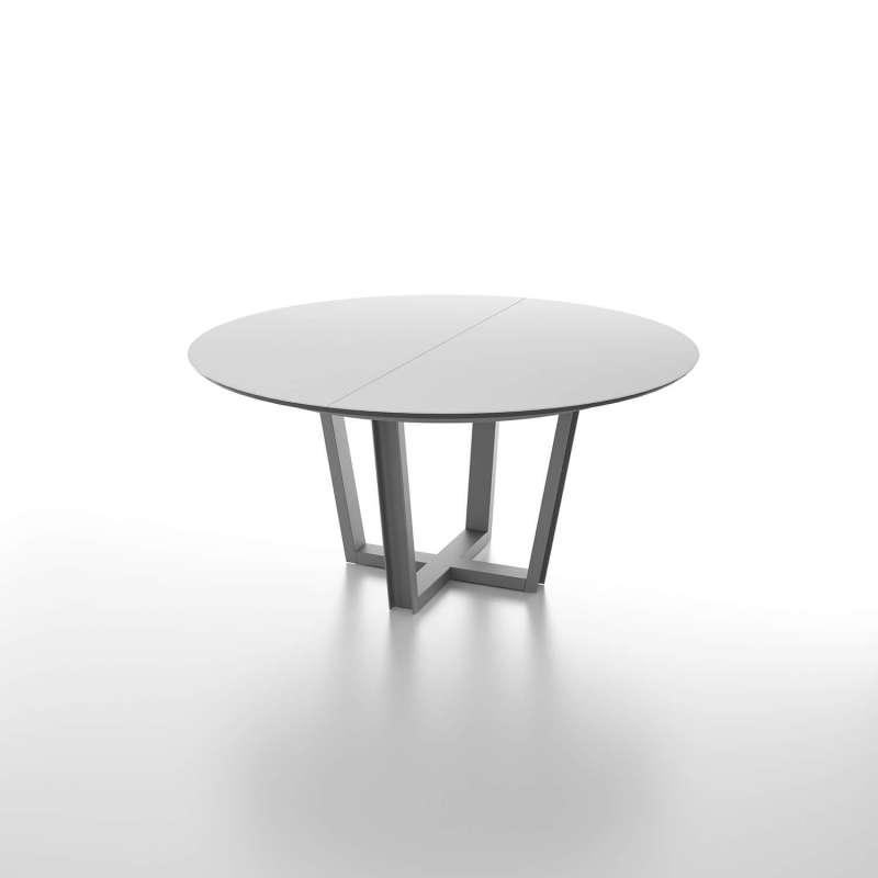 Table ronde extensible avec plateau en verre et piétement design ...