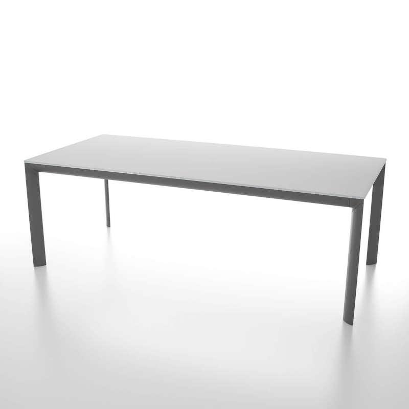 Table Rectangulaire Extensible En Verre Trempé Et Pieds En Métal