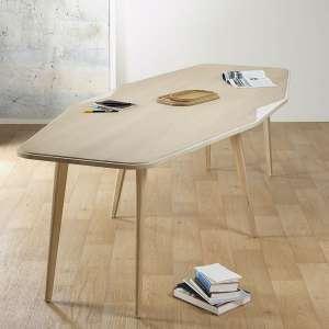 Grande table de séjour scandinave en bois blanchi française liseré blanc - Flo