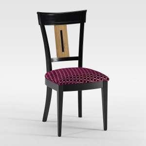 Chaise de style revisitée en bois laqué noir et tissu bana rose fabrication française - Clarisse