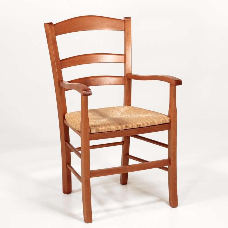 fauteuil en bois rustique et paille broc liande 4. Black Bedroom Furniture Sets. Home Design Ideas