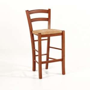 Tabouret snack en bois massif teinté merisier rustique et assise en paille - Brocéliande