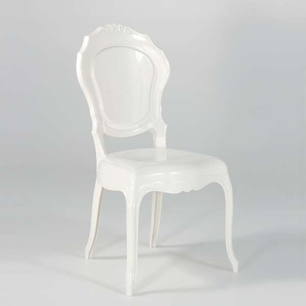 Chaise Louis XV modernisée en polycarbonate opaque blanc - Belle Époque