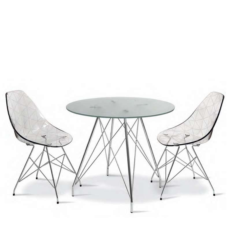 petite table ronde design en verre transparent avec pieds. Black Bedroom Furniture Sets. Home Design Ideas