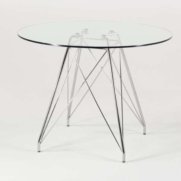 petite table ronde design en verre transparent avec pieds eiffel chrom s glamour 4. Black Bedroom Furniture Sets. Home Design Ideas
