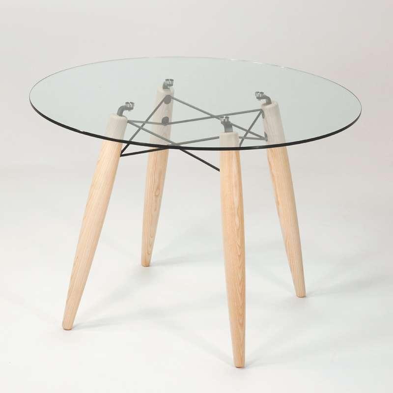 Table Ronde En Verre Transparent Style Scandinave Avec Pieds En Bois
