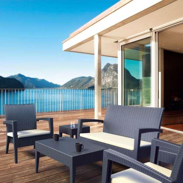 fauteuil de jardin d tente en r sine tress e avec coussin miami 4. Black Bedroom Furniture Sets. Home Design Ideas