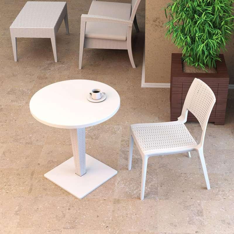 Table de jardin ronde en r sine tress e et plateau werzalit riva 4 - Table ronde en resine tressee ...