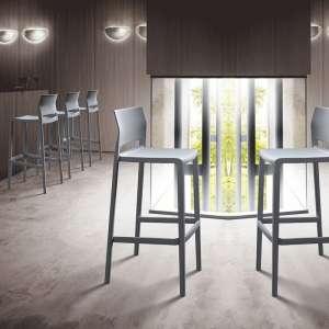 Tabouret de bar moderne empilable gris - Bakhita