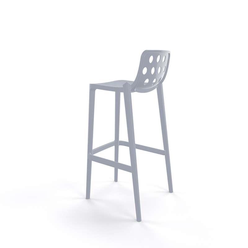 tabouret de bar d 39 ext rieur moderne empilable avec dossier ronds ajour s isidoro 4. Black Bedroom Furniture Sets. Home Design Ideas